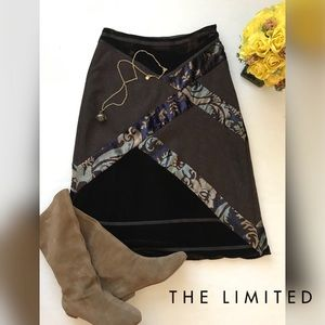 THE LIMITED Mixed Media Wool/Velvet Midi Skirt